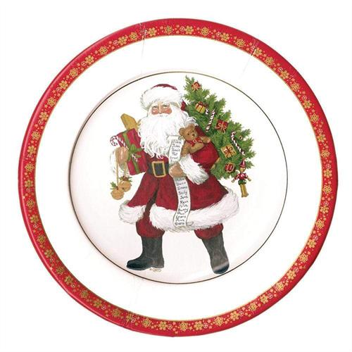 Σετ Πιάτων Φαγητoύ Lynn Haney Santa 26.7 cm Caspari (8 τεμάχια)571748