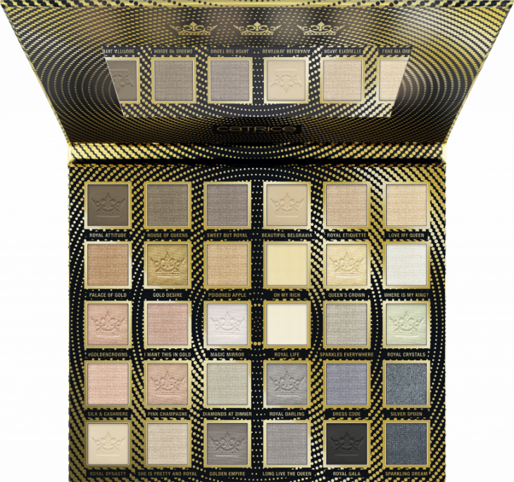 Catrice Golden Crowns 30 Colour Eyeshadow Palette Champagne & Taupe_Full Open